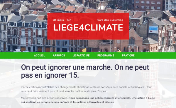 screenshot of liegepourleclimat.be